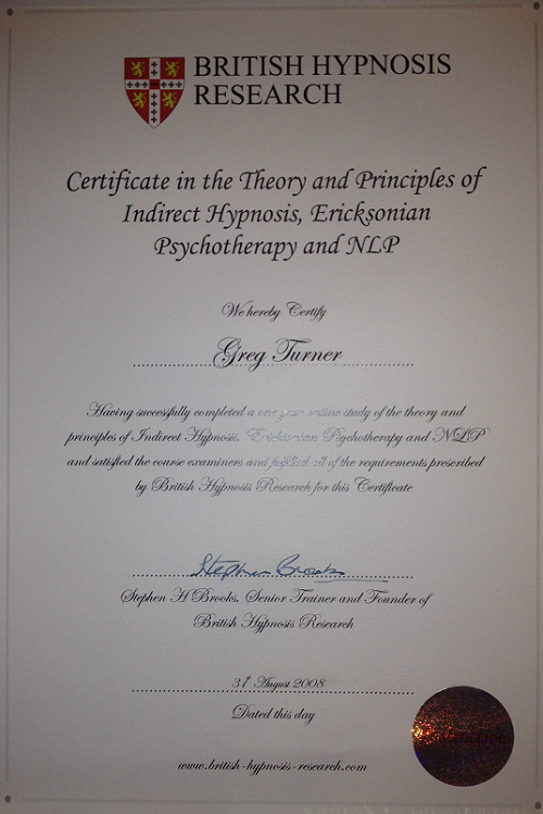 british hypnosis certificate