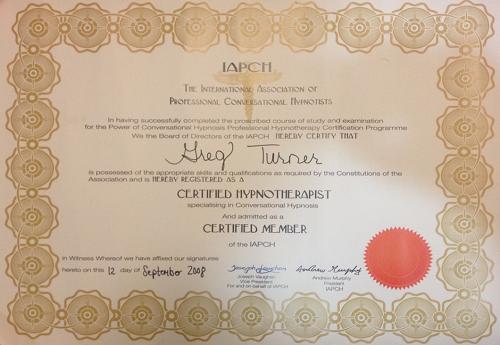 certified conversational hypnotist certificate